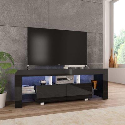 Tv-meubel met LED-verlichting 130x35x45 cm hoogglans zwart