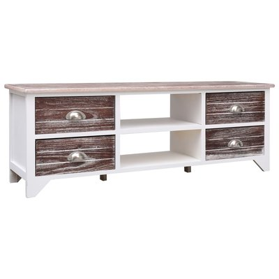 Tv-meubel 115x30x40 cm paulowniahout wit en bruin