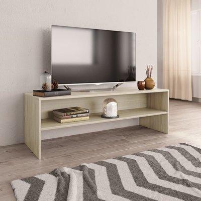 Tv-meubel 120x40x40 cm spaanplaat wit en Sonoma eikenkleur
