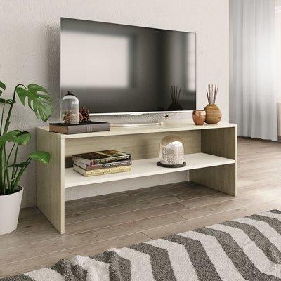 Tv-meubel 100x40x40 cm spaanplaat wit en Sonoma eikenkleur