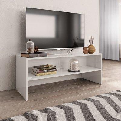Tv-meubel 100x40x40 cm spaanplaat hoogglans wit