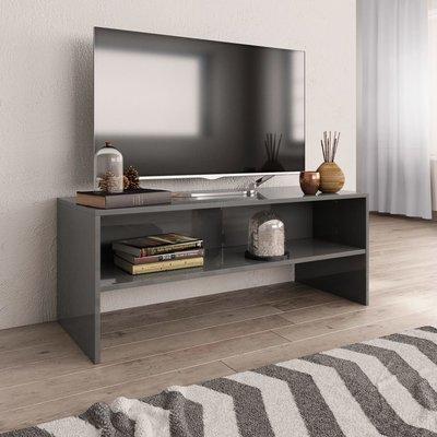 Tv-meubel 100x40x40 cm spaanplaat hoogglans grijs
