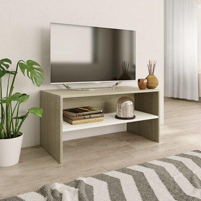 Tv-meubel 80x40x40 cm spaanplaat wit en Sonoma eikenkleur