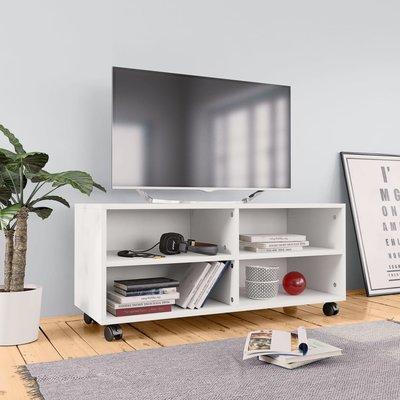 Tv-meubel met wieltjes 90x35x35 cm spaanplaat wit