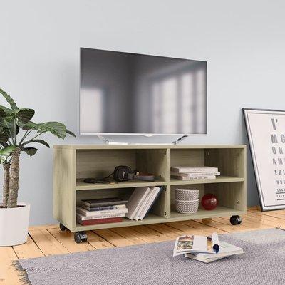 Tv-meubel met wieltjes 90x35x35 cm spaanplaat sonoma eikenkleur