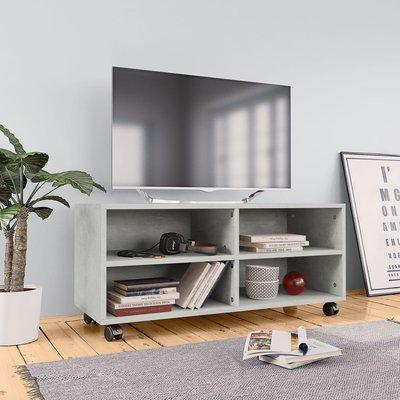 Tv-meubel met wieltjes 90x35x35 cm spaanplaat betongrijs