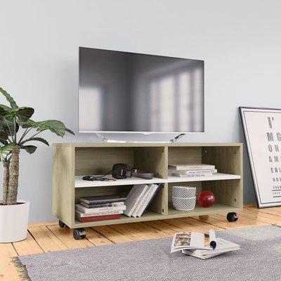Tv-meubel met wieltjes 90x35x35 cm spaanplaat wit en sonoma