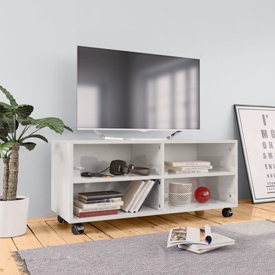 Tv-meubel met wieltjes 90x35x35 cm spaanplaat hoogglans wit