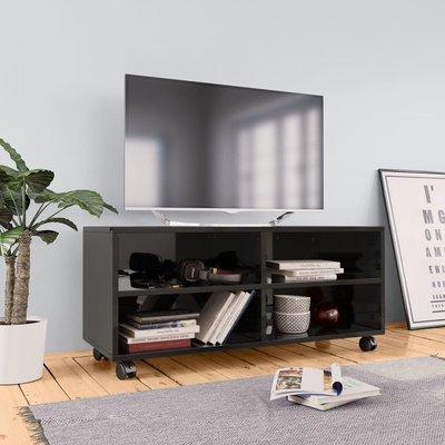 Tv-meubel met wieltjes 90x35x35 cm spaanplaat hoogglans zwart