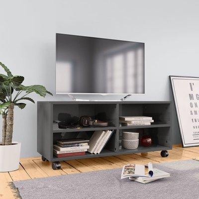 Tv-meubel met wieltjes 90x35x35 cm spaanplaat hoogglans grijs