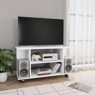 Tv-meubel met wieltjes 80x40x40 cm spaanplaat wit