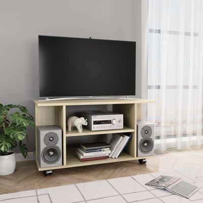 Tv-meubel met wieltjes 80x40x40 cm spaanplaat sonoma eikenkleur