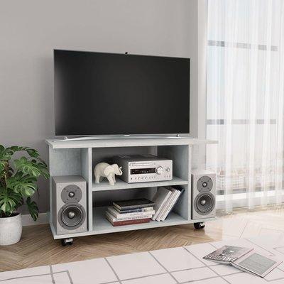 Tv-meubel met wieltjes 80x40x40 cm spaanplaat betongrijs