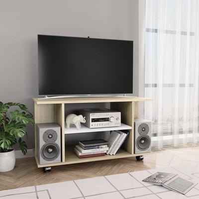 Tv-meubel met wieltjes 80x40x40 cm spaanplaat wit en sonoma