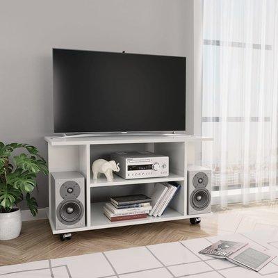Tv-meubel met wieltjes 80x40x40 cm spaanplaat hoogglans wit