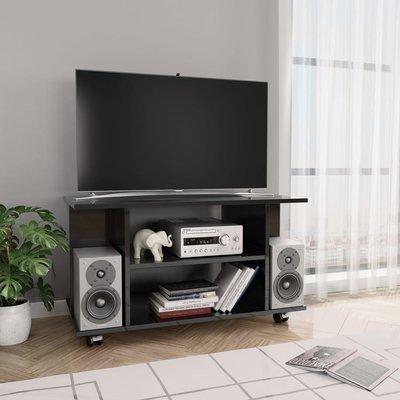 Tv-meubel met wieltjes 80x40x40 cm spaanplaat hoogglans zwart