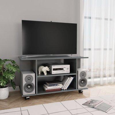 Tv-meubel met wieltjes 80x40x40 cm spaanplaat hoogglans grijs
