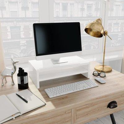 Monitorstandaard 42x24x13 cm spaanplaat hoogglans wit
