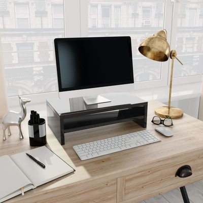 Monitorstandaard 42x24x13 cm spaanplaat hoogglans zwart