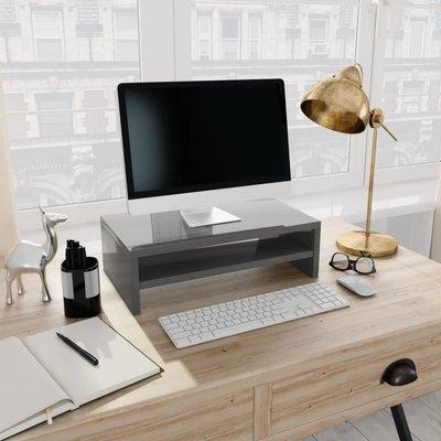 Monitorstandaard 42x24x13 cm spaanplaat hoogglans grijs