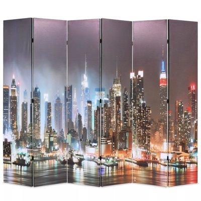 Kamerscherm inklapbaar New York bij nacht 228x170 cm