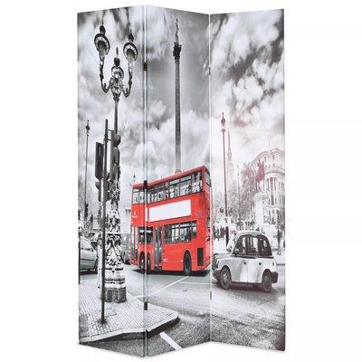 Kamerscherm inklapbaar Londen bus 120x170 cm zwart en wit