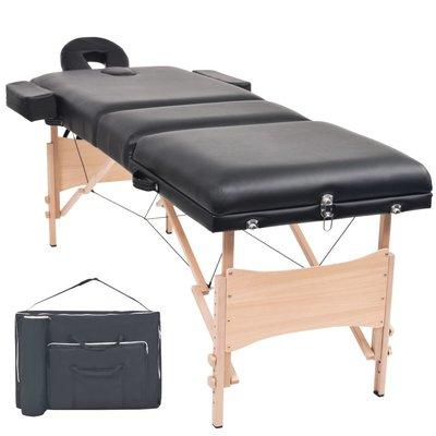 Massagetafel inklapbaar 3 zones 10 cm dik zwart