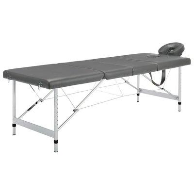 Massagetafel met 4 zones 186x68 cm aluminium frame antraciet