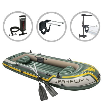 Intex Opblaasbootset Seahawk 4 met trolling motor en beugel