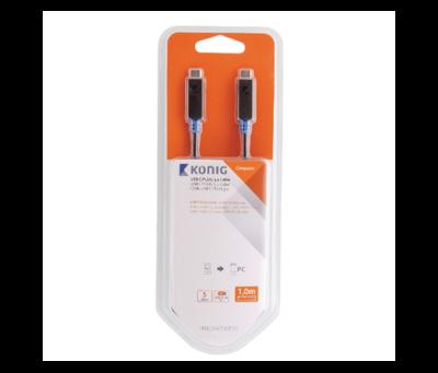 König  USB-C plug Male 1.00 m Antraciet GEN 1 (5 Gbps)