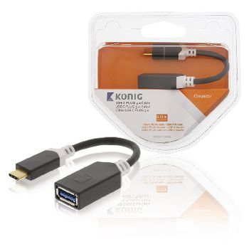 Konig USB 3.0 Kabel USB-C Male - USB A Female 0.15 m Antraciet