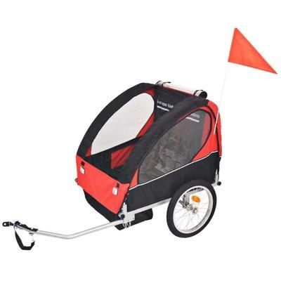 Fietskar voor kinderen 30 kg rood en zwart