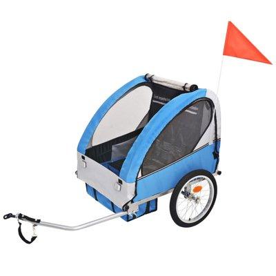Fietskar voor kinderen 30 kg grijs en blauw