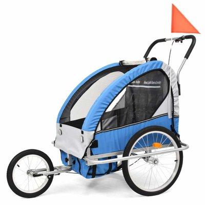 Kinderfietskar en wandelwagen 2-in-1 blauw en grijs