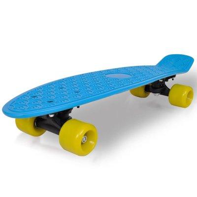 "Retro pennyboard met blauwe bovenkant en gele wielen 6,1"""