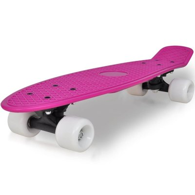 """Retro pennyboard met lila bovenkant en witte wielen 6,1"""""""