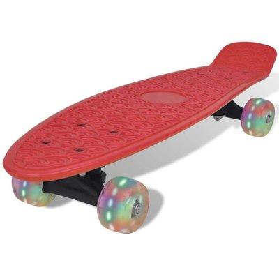 Penny board retro met LED-wielen rood