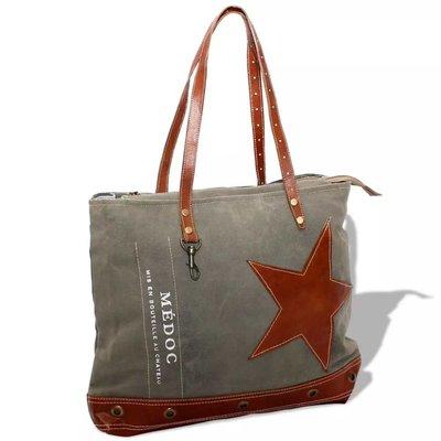 Shopper tas canvas en echt leer grijs