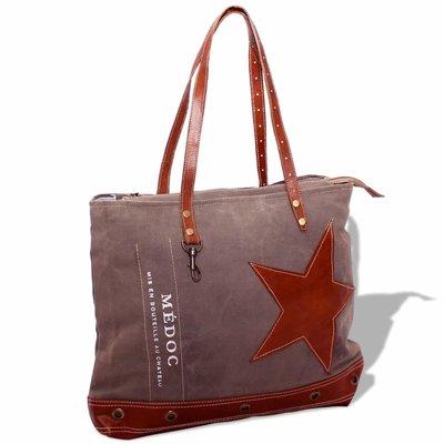 Shopper tas canvas en echt leer bruin