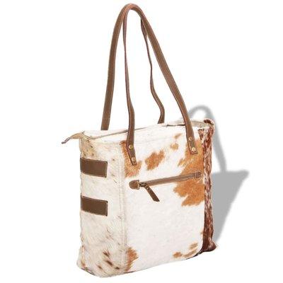 Shopper tas canvas en echte geitenhuid