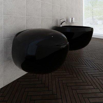 Wandtoilet en bidet set zwart
