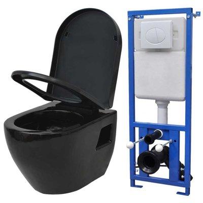 Zwevend toilet met stortbak zwart keramiek