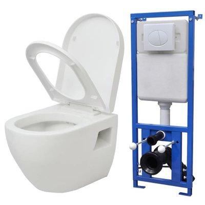 Zwevend toilet met stortbak keramisch wit