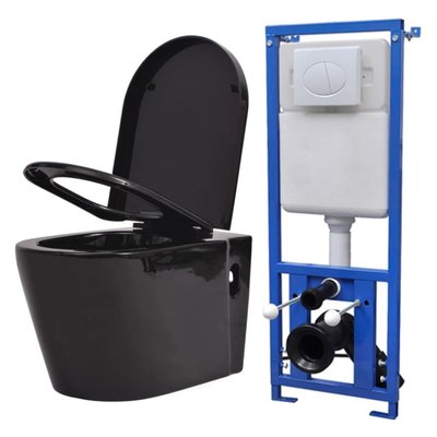 Hangend toilet met verborgen stortbak keramisch zwart