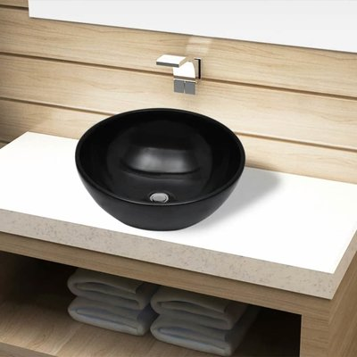 Wasbak, keramiek, rond, zwart 325 mm