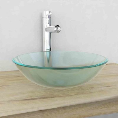 Wasbak gehard glas 42 cm matglas