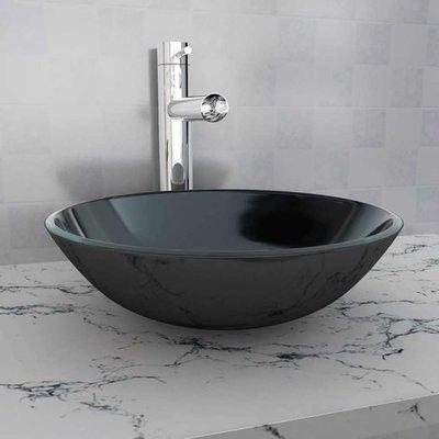 Wasbak gehard glas 42 cm zwart