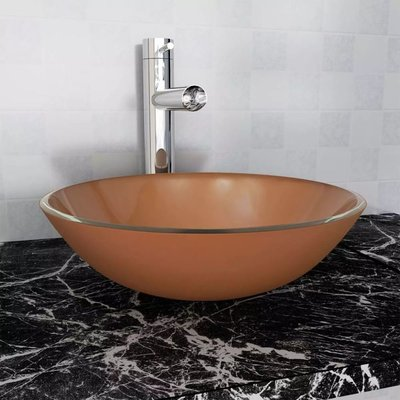 Wasbak gehard glas 42 cm bruin