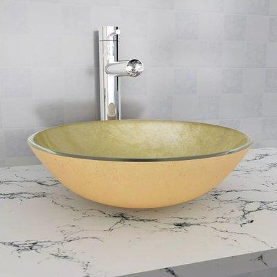 Wasbak gehard glas 42 cm goud