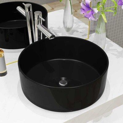 Wastafel rond 40x15 cm keramiek zwart